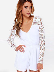 Women's Sexy/Casual Lace  Thin Short Pant Playsuit Long Sleeve Jumpsuits (Spandex/Organic Cotton)