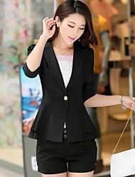 Women's Solid Blue/Pink/White/Black/Yellow Blazer , Casual/Work Shirt Collar ½ Length Sleeve Layered