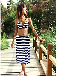 Women's Push-up/Wireless Color Block Bandeau Cover-Ups (Polyester)