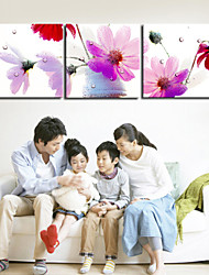VISUAL STAR®3 panel Pink Flowers Canvas Wall Art for Wall Decor Ready to Hang