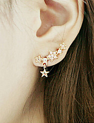 Stud Earrings Rhinestone Alloy Star Screen Color Jewelry 2pcs