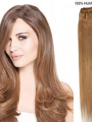 16inch 9pcs / set 100g clip-in hair remy human hair extensions 14 kleuren voor vrouwen schoonheid
