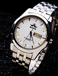 Men's New Calendar Round Dial Mineral Glass Mirror Stainless Steel Band Business Waterproof Quartz Watch