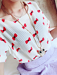 Women's Summer Blouse,Print Round Neck Short Sleeve Red / Beige / Green Medium