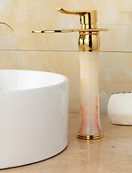 Ti-PVD Finish Jade Brass Waterfall Golden Bathroom Sink Faucet