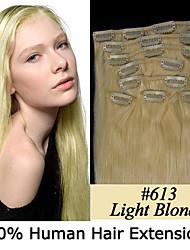 24inch 8pcs / set 110g clip-in hair remy human hair extensions 23 kleuren voor vrouwen schoonheid