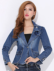 Women's Solid Blue Denim Top , Casual V Neck/Shirt Collar Long Sleeve Pocket/Button/Ruched