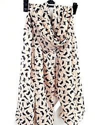 Women Long Silk Scarves Snow Kitten Printed Scarf Shawl