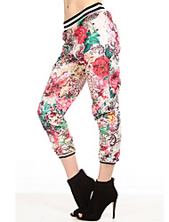 RICHCOCO® Women's Stylish Floral Plants Printing Low Waist Casual Pant