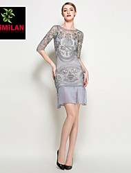 YIMILAN® Women's The New 2015 Heavy Sleeve Dress in The Embroidery