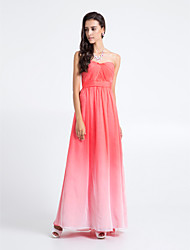 Lanting Bride Floor-length Chiffon Bridesmaid Dress - Color Gradient Sheath / Column Strapless Plus Size / Petite with Criss Cross