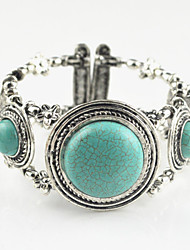 Toonykelly®Vintage Look Antique Silver Round Flower Turquoise Stone Cuff Bracelet(1PC)