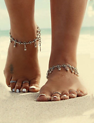 Simple Show Vintage Metal Droplets Tassel Flower Anklet