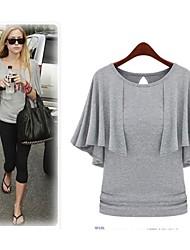 Informell/Party/Business Rund - Kurzarm - FRAUEN - T-Shirts ( Baumwolle/Polyester )