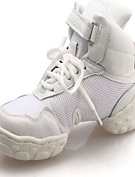 Non Customizable Women's/Men's/Kids' Dance Shoes Dance Sneakers/Modern Leather Flat Heel Black/White