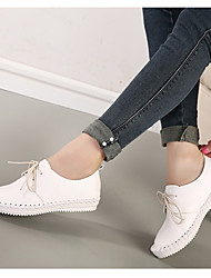 Women's Shoes Flat Heel Round Toe Loafers Casual White/Silver