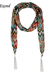 D Exceed  Shawls And Scarves Fashion Ethnic Print Jewelry Scarfs Women's Chiffon Long Tassels Winter Scarf Necklaces