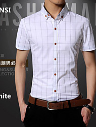 The new cotton checked half sleeve shirt business cultivate one's morality men's short sleeve shirts