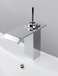 Modern Chrome Waterfall Bathroom Faucet (Short) - Silver