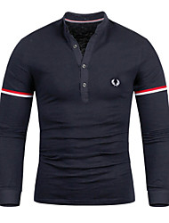 Men's Long Sleeve Polo , Cotton Blend Casual