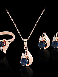 May Polly  Hot color diamond necklace earrings set zircon party ring