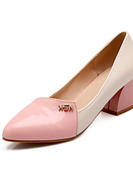 Women's Shoes Patent Leather Chunky Heel Heels/Round Toe Pumps/Heels /Party & Evening/Dress/Casual Green/Pink/Beige