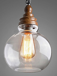 Vintage Wooden Round Crystal Ball Pendant Lights for Dining Room/Living Room/Hallway (Dia 19cm)