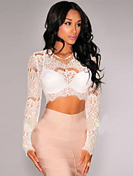 Women's Sheer Lace Long Sleeves Crop Top