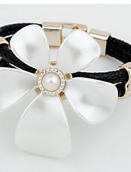 Bracelet/Manchettes Bracelets / Bracelets en cuir Alliage / Imitation de perle / Cuir / Strass Quotidien / Décontracté Bijoux CadeauNoir