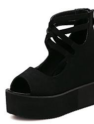 Zapatos de mujer - Tacón Cuña - Cuñas - Sandalias - Exterior - Sintético - Negro