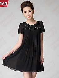 YUEMIAN™Women's Large Size Ladies Temperament Stitching Nail Bead Embroidered Dress