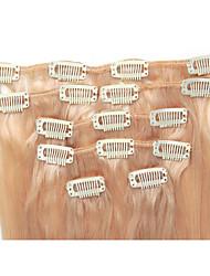 15 7pcs pouces / clip 70g en brésilien extensions de cheveux humains soyeux # 613 bleach blondes