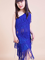 Latin Dance Outfits Children's Performance / Training Polyester Tassel(s) 2 Pieces Blue Latin Dance Lace-up Spring, Fall, Winter, Summer