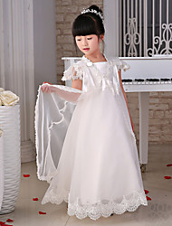 Princess Floor-length Flower Girl Dress - Lace / Organza Short Sleeve Square with