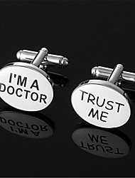 Men's Trust Me I'm A Doctor Wht Enamel Oval Wedding Cufflinks