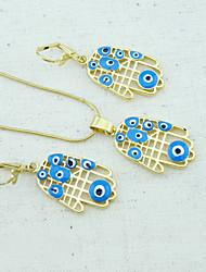 18k oro plateado collar + aretes de perlas hamsa mano de fátima el mal de ojo de cristal de la joyería de
