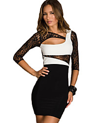 Women's Sexy Party Club Dancing Dress Sneath Mini Dress Evening Gown Lace Splice Bodycon Dress