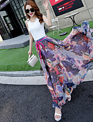 Women's Floral/Print Purple Skirts , Vintage/Beach/Casual/Print/Cute/Party/Maxi Maxi Flower