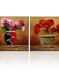 VISUAL STAR®2 Panel Stretched Canvas Flower Oil Painting Wth High Quality