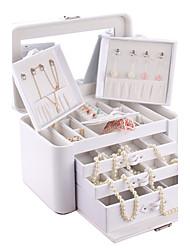 não-personalizado couro falso relógio colar de pingente anel de caixa de jóias organizador organizador armário vitrine