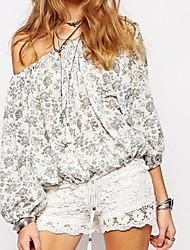 Women's Glamour Rose Print Off-shoulder Shirt