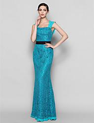 lanting palabra de longitud dama de honor vestido de encaje - jade más / tamaños vaina pequeña plaza / columna
