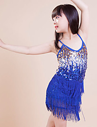 Latin Dance Dresses Children's Performance / Training Polyester Sequins / Tassel(s) 1 Piece Blue Latin Dance Lace-upSpring, Fall, Winter,