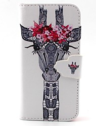 White Deer Head With Flowers Pattern PU Leather Full Body Case with Card Slot and Stand for iPhone 5C