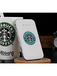 bateria externa starbucks cristal 5000mAh Banco de alimentação multi-saída para iphone6 / samsung Nota4 e outros dispositivos móveis