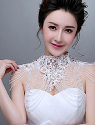 Korea Style Ivory Lace Wedding Wraps with Crystal stones with Rhinestones
