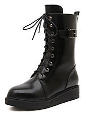 Zapatos de mujer - Tacón Cuña - Cuñas - Botas - Casual - Semicuero - Negro