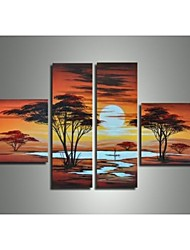 Hand-Painted Wall Art Sunset Tree Scenery Pictures Oil Painting on Canvas  4pcs/set No Frame