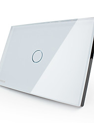 Livolo US/UA Standard Touch Switch,  Tempered  Glass Panel , AC110~220V, 1 Gang 1 Way, White/Black Color,  VL-C301-81/82
