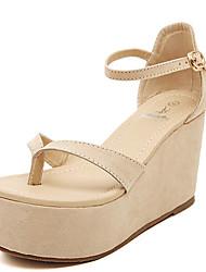 Zapatos de mujer - Tacón Cuña - Cuñas - Sandalias - Casual - Semicuero - Beige